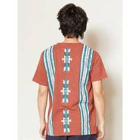 【チャイハネ】オルテガ柄バックプリント メンズポケットTシャツ レンガ