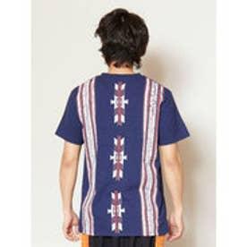 【チャイハネ】オルテガ柄バックプリント メンズポケットTシャツ ネイビー