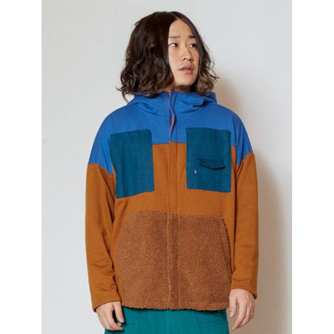 【チャイハネ】yul ボアパッチワークMEN'Sフードジャケット ブルー
