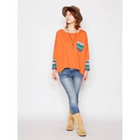 ◆【チャイハネ】ジャガードニットパッチワークTシャツ オレンジ