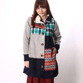 ◆【チャイハネ】チェックパッチワークニットジャケット / コート グレー