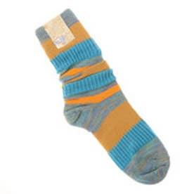 【チャイハネ】ボーダールーズソックス 靴下24cm オレンジ