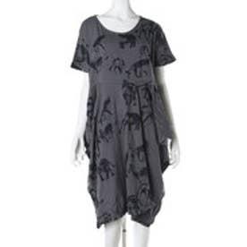 【チャイハネ】アフリカンアニマルワンピース / ビッグシルエット Tシャツ ブラック