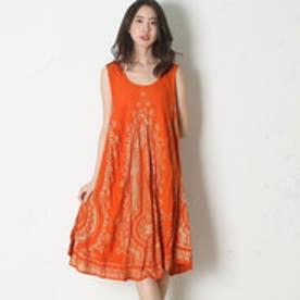 【チャイハネ】スパンコール刺繍プリントワンピース オレンジ