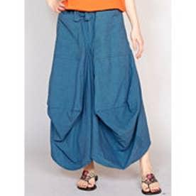 【チャイハネ】yul 無地シンプル変形スカート ブルー