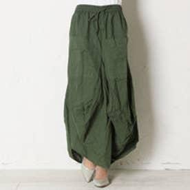【チャイハネ】yul 無地シンプル変形スカート カーキ
