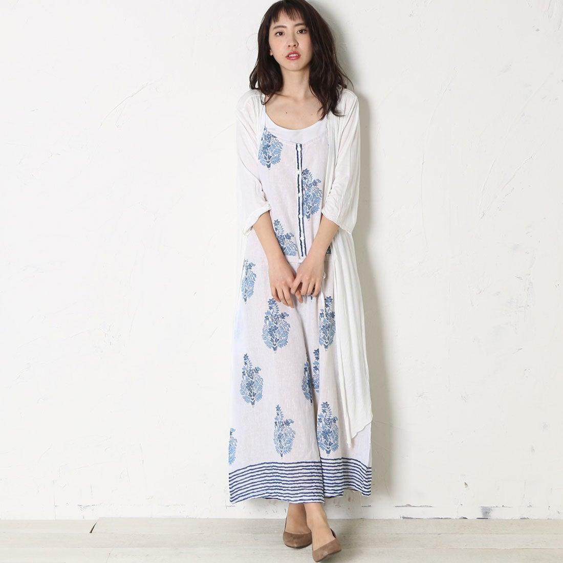 【SALE 10%OFF】【チャイハネ】エスニック刺繍ロングカーディガン ホワイト