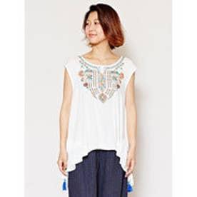 【チャイハネ】ミラーワーク刺繍タンクトップ ホワイト