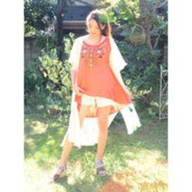 【チャイハネ】ミラーワーク刺繍タンクトップ オレンジ