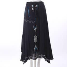 【チャイハネ】ネイティブ柄刺繍ロングヘムスカート ブラック