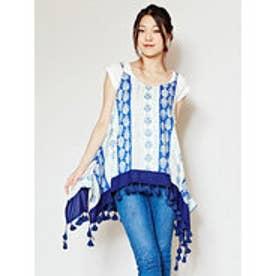 【チャイハネ】ブルーテキスタイルキャミソール ホワイト×ブルー