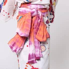 【チャイハネ】ボーンタイダイ浴衣帯 ホワイト