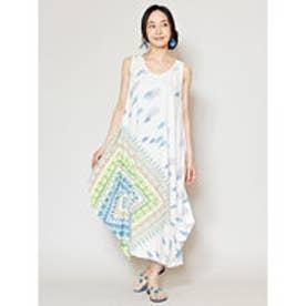 【チャイハネ】yul ジオメスカーフ柄ノースリーブワンピース ホワイト