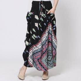 【チャイハネ】yul ジオメスカーフ柄プリントスカート ブラック