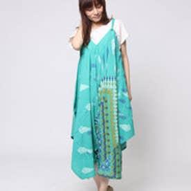 【チャイハネ】yul ジオメスカーフ柄プリントサロペット / ワンピース ターコイズブルー