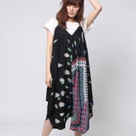【チャイハネ】yul ジオメスカーフ柄プリントサロペット / ワンピース ブラック