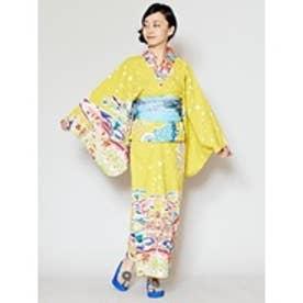 【チャイハネ】沖縄紅型風ユートピアセパレート浴衣 イエロー