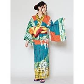 【チャイハネ】レトロモダン藤の花セパレート浴衣 グリーン