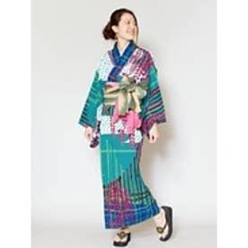 【チャイハネ】レトロモダン藤の花セパレート浴衣 ブルー