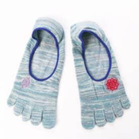 【チャイハネ】ワンポイント刺繍5本指ソックス24cm ブルー
