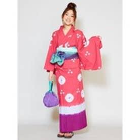 【チャイハネ】しぼり染めタイダイセパレート浴衣 ピンク