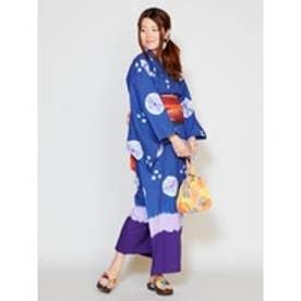 【チャイハネ】しぼり染めタイダイセパレート浴衣 ネイビー