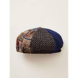 【チャイハネ】パッチワークベレー帽 ブルー