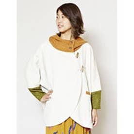 【チャイハネ】yul 裏起毛&ニットフードジャケット ホワイト
