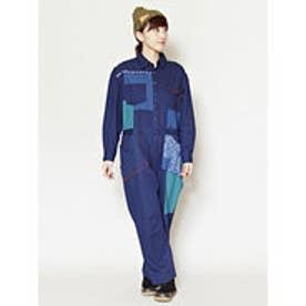 【チャイハネ】こぎん刺し風刺繍パッチワークサロペット ブルー