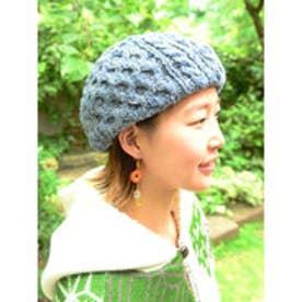 【チャイハネ】ヘンプ混ニットベレー帽 ライトブルー