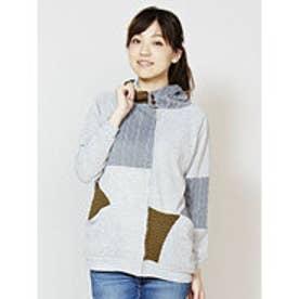 【チャイハネ】yul 変わり編みパッチワークニットフーディー グレー