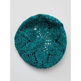 【チャイハネ】透かし編みコットンヤーンベレー帽 グリーン