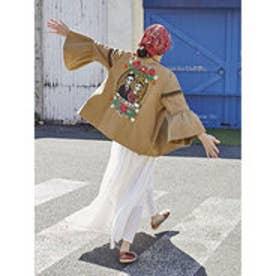 【チャイハネ】カラベラ刺繍フレアースリーブノーカラージャケット ベージュ