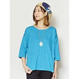 【チャイハネ】yul 無地スラブプレーンビッグシルエットTシャツ ターコイズブルー