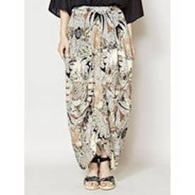 【チャイハネ】yul フェザープリント変形スカート ブラック