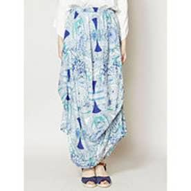 【チャイハネ】yul フェザープリント変形スカート ブルー