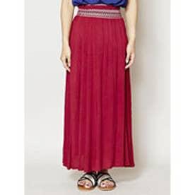 【チャイハネ】yul 刺繍入りシンプルロングスカート ワインレッド