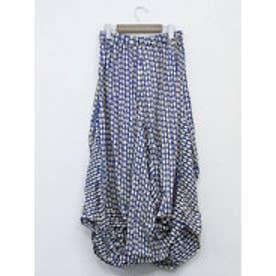 【チャイハネ】yul アフリカンプリントイレギュラーヘムスカート ブルー