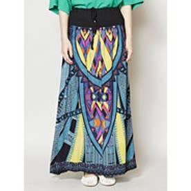 【チャイハネ】yul アフリカン柄ロングスカート ブラック