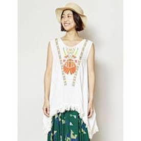 【チャイハネ】ミラーワーク刺繍フリンジタンクトップ ホワイト