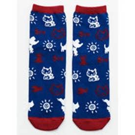 【チャイハネ】さすらいねこおかか小紋柄靴下23?25cm ブルー