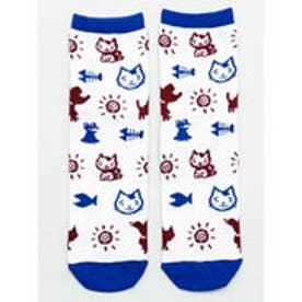【チャイハネ】さすらいねこおかか小紋柄靴下23?25cm ホワイト×ブルー