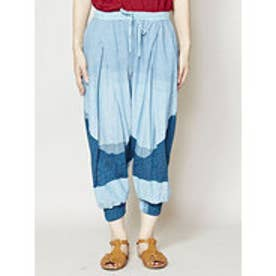 【チャイハネ】yul ボーダー織りサルエルパンツ ブルー