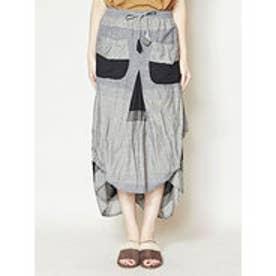 【チャイハネ】yul ボーダー織り変形スカート ブラック