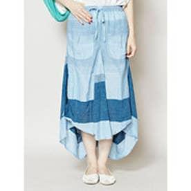 【チャイハネ】yul ボーダー織り変形スカート ブルー