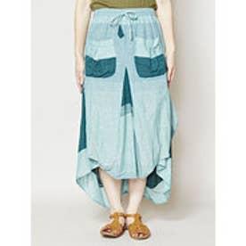 【チャイハネ】yul ボーダー織り変形スカート グリーン