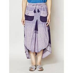 【チャイハネ】yul ボーダー織り変形スカート パープル