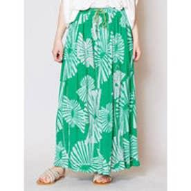 【チャイハネ】yul 箔プリントスパンコール刺繍ロングスカート グリーン