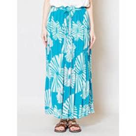 【チャイハネ】yul 箔プリントスパンコール刺繍ロングスカート ターコイズブルー