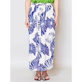 【チャイハネ】yul 箔プリントスパンコール刺繍ロングスカート ホワイト